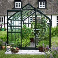 Serre de jardin 6,2 m² verte et verre horticole Popular - Halls sur http://www.ma-serre-de-jardin.com/