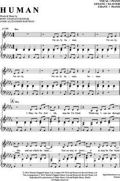 Human (Klavier + Gesang) Rag 'N' Bone Man [PDF Noten] >>> KLICK auf die Noten um Reinzuhören <<< Noten und Playback zum Download für verschiedene Instrumente bei notendownload Blockflöte, Querflöte, Gesang, Keyboard, Klavier, Klarinette, Saxophon, Trompete, Posaune, Violine, Violoncello, E-Bass, und andere ...