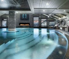 Stunning Indoor Pool in a French hotel  By: Hotel le K2 Follow @theluxurypage for more! - Architecture and Home Decor - Bedroom - Bathroom - Kitchen And Living Room Interior Design Decorating Ideas - #architecture #design #interiordesign #homedesign #architect #architectural #homedecor #realestate #contemporaryart #inspiration #creative #decor #decoration