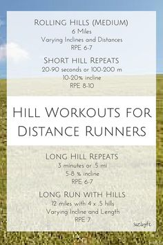 Hill Workouts for Distance Runners including rolling hills, short hill repeats, long hill repeats, and long runs with hills, which workouts to do to run faster and get stronger! http://suzlyfe.com/hill-workouts-distance-runner-running-coaches-corner-22/