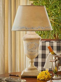 Vintage Style Yellow Urn Toile Table Lamp French Country Shabby Cottage Chic