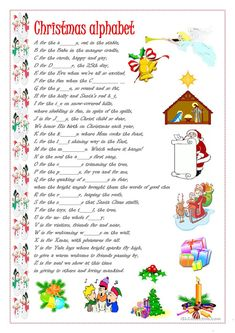 Ss fill in the right words, each word starts with a letter of the English alphabet - ESL worksheets Christmas Trivia, Christmas Worksheets, Christmas Alphabet, Christmas Words, Childrens Christmas, Noel Christmas, Christmas Games, Christmas Activities, Christmas Crafts For Kids