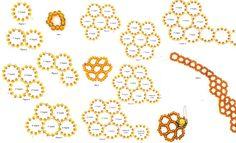 схема плетения колье из оранжевого бисера