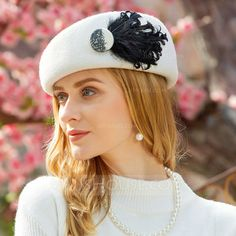 Ladies' Classic Wool With Feather Beret Hat Ladies' Classic Wool With Feather Beret Hat Beret Outfit, Mode Turban, Event Dresses, Occasion Dresses, Party Dresses, Wedding Dresses, Fancy Hats, Headpiece Wedding, Hats For Women