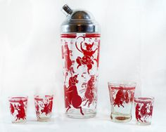 Red Pigs 1930's Vintage Cocktail Shaker Set - Antiques and Collectibles - Antique Cocktail Shakers - Martini Pitchers - Art Deco Bar Ware - The Jazz Age