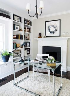 Get inspired by Modern & Contemporary Office Design photo by TERRACOTTA DESIGN BUILD. Wayfair lets you find the designer products in the photo and get ideas from thousands of other Modern & Contemporary Office Design photos. Modern Office Design, Contemporary Office, Fireplace Seating, Fireplace Design, Office With Fireplace, Superior Homes, Chandelier In Living Room, Small Room Design, Office Seating
