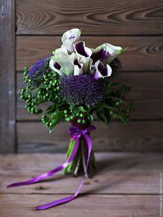 Букет невесты / Поздравительный букет - фиолетовый, лиловый, сиреневый, кремовый, зеленый