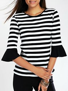 Stylish Flare Sleeve Striped Women's Knitted T-Shirt