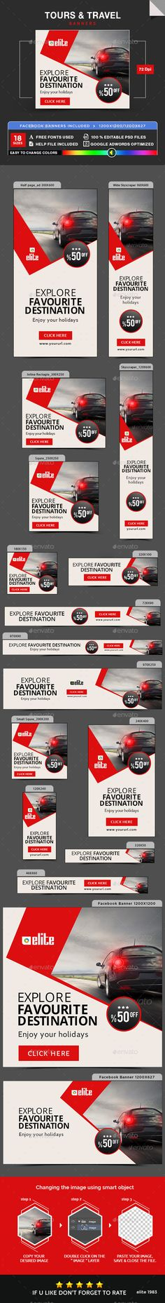 Buy Tours & Travel Banners by Hyov on GraphicRiver. Promote your Products and services with this great looking Banner Set. Web Banner, Banner Template, Creative Poster Design, Creative Posters, Ad Design, Menu Design, Design Ideas, Hiring Poster, Real Estate Banner