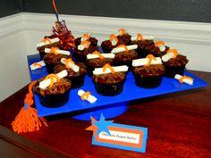 Graduation Cupcake Display  Chocolate Peanut Butter Graduation Cupcakes  Graduation Cap Cupcake Stand  www.sweetycakes.org