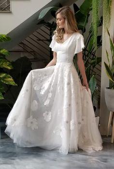 Modest wedding dresses from Alta Moda Bridal. Wedding Dresses Lds, Crepe Wedding Dress, Popular Wedding Dresses, Wedding Dress Trends, Gorgeous Wedding Dress, Wedding Ideas, Prom Dresses With Sleeves, Modest Dresses, Bridal Lace