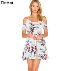 Fashion long dress women Off shoulder beach summer dresses Floral print  Vintage chiffon white maxi dress vestidos de festa 31ff99013706