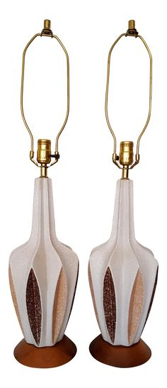 Mid-Century Modern Ceramic Table Lamps - Pair on Chairish.com