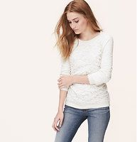 Lace Front Sweatshirt - We perfected lacy-day cool with this slubbed cotton fave. Ballet neck. Long raglan sleeves. Lace front. Solid back. Ribbed neckline, cuffs and hem.