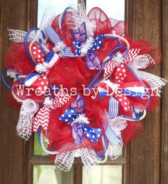 4th of July wreath !! Great for 3 holidays!!! Wreaths by design on Facebook
