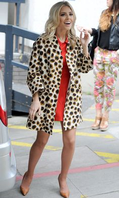 Mollie King Gives A Transeasonal Twist To A Litle Red Dress With A Printed Coat, 2013   Look