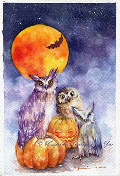 PRINT – Halloween Night Watercolor painting 7.5 x 11""