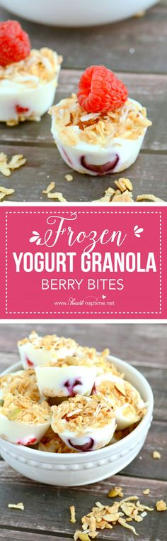 Frozen Yogurt Granola Berry Bites . . . a few ingredients and a few minutes is all it takes to make these healthy and delicious treats!