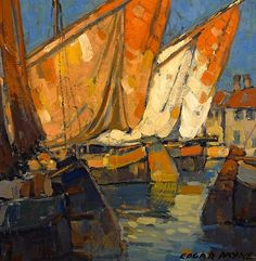 ❦ Edgar Payne (1883 - 1947). Sailboats docked at Brittany. Oil on Canvas, 14.25 x 14.25 in.