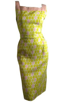 Pink Limeade Chartreuse and Pink Citrus Print Dress, circa 1950s