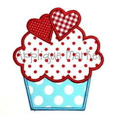 Machine Embroidery Design Applique Cupcake with Hearts.