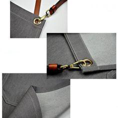 Gray Denim Bib Apron - Little Tailor Studio Bib Apron, Aprons, Work Wear, Cufflinks, Denim, Grey, Fabric, Leather, How To Wear