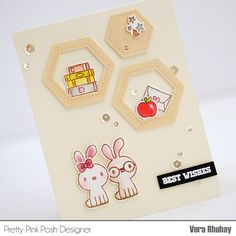"""I made hexagon wall display on my card from Stitched Hexagons Dies. It's just perfect to paired with the bunnies from Holiday Pals Stamp Set.  I stamped the bunnies on Canson Illustration pad and colored with Zig Clean Color Real Brush, added sentiment """"Best Wishes"""" from Camping Friends Stamp Set. And finally, I finished it off with my favorite Sparkling Clear sequins on my card."""