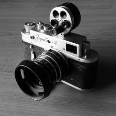 Zorki 4 rangefinder 35 mm film camera, Industar 61LD 53 mm f2.8 lens with KMZ Turret viewfinder for 28mm, 35mm, 50mm, 85mm and 135 mm.