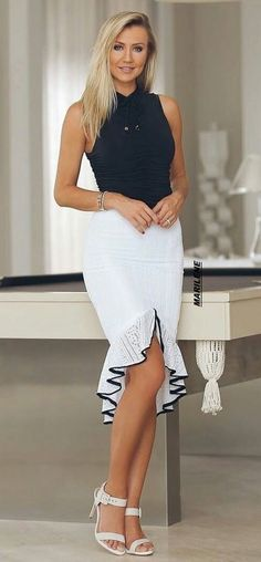 Cute fashion outfits ideas – Fashion, Home decorating Trendy Dresses, Elegant Dresses, Fashion Dresses, White Outfits, Classy Outfits, Bcbg, Dress Images, Blouse And Skirt, Lookbook
