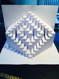 DIY Template Spiral kirigami paper sculpture by Ullagami Kirigami Patterns, Origami And Kirigami, Oragami, Folding Architecture, Diy And Crafts, Paper Crafts, Paper Pop, Minecraft Designs, Paper Folding