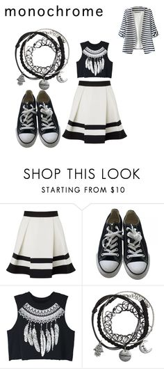 """""""monochrome"""" by cheyennehayden on Polyvore featuring Lipsy, Converse, WithChic and monochrome"""