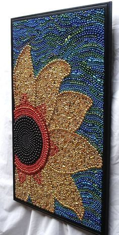 A little glue, your old mardi gras beads and whala. Heiligman Custom order Original Mosaic framed Mardi Gras by BayoulandBeads. USD, via Etsy. Bead Crafts, Arts And Crafts, Class Art Projects, Art Perle, Mardi Gras Beads, Sunflower Art, Button Art, Art Auction, Auction Ideas