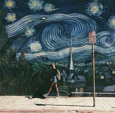 || vincent van gogh || starry night || wall art || building art || street art ||