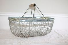 Metal Wire Basket Shabby Chic Picnic Basket by LaNormandyBoutique