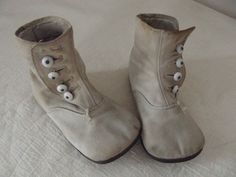 Vintage *Baby Child High Top Shoes With Glass Buttons* Victorian Style