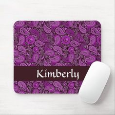 Purple paisley custom name pattern mouse pad Business Supplies, Party Hats, Funny Cute, Paisley, Art Pieces, Kids Shop, Purple, Store, Pattern