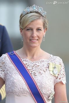 Sophie, Countess of Wessex, as a guest at Princess Madeleine's wedding, wearing what has now been identified as the Canadian aquamarine Tiara.