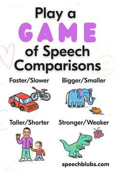 """As a therapist, I am constantly saying that """"therapy is a daily, parent-led, home-placed task"""". Here is a super simple idea that you can play with your toddler or preschooler that helps practice comparing items. This game can be done at home, in the car, walking around...really anywhere making it a go-to for parents! Preschool Special Education, Preschool Age, Speech Activities, Time Activities, Fun Learning, Learning Activities, Speech Room, Games For Toddlers, Speech And Language"""