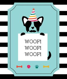 Pupstachio Mustache Doggie Party Labels - B. Lovely Events