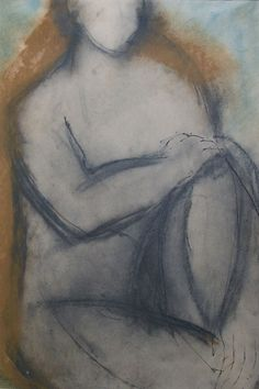 John Emanuel  Painting ' Nude '- £370   (- Mixed media on Paper, Signed) online at www.navigatorarts.co.uk promoting Cornish Contemporary Art