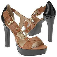 Michael-Kors-mk-shoes-womens-high-heels-sandals-strappy-brown-black-buckle-rivet-gold-detail