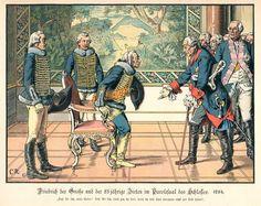 Friedrich der Große und der 85jährige Zieten im Parolesaal des Schlosses. 1784