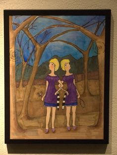 Lost Girl Series 2, Racoon Twins, Pen, pencil, marker, water color. By Michaela Whitney