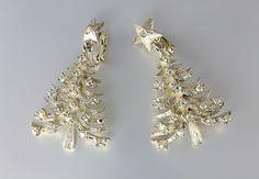 Large Mylu Rhinestone Christmas Tree Earrings aurora borealis, clip on 1960s jewelry