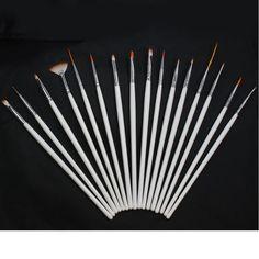 16 PCS Nail ART PEN Brush Drawing Acrylic Sable Painting FOR TIP Tool SET White | eBay