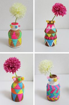 DIY: Painted mini vases made with PET bottles and paper twine