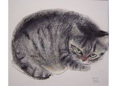 Cat Drawing, Painting & Drawing, I Love Cats, Cute Cats, Asian Cat, Graphic Illustration, Illustrations, Japanese Cat, Cat Sketch