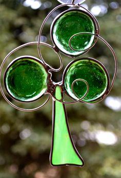 Funky Shamrock  Stained Glass Suncatcher by dortdesigns on Etsy, $10.00