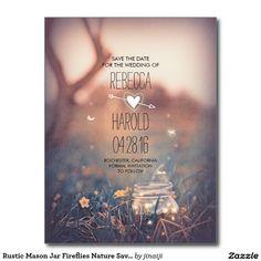Rustic Mason Jar Fireflies Nature Save the Date Postcard