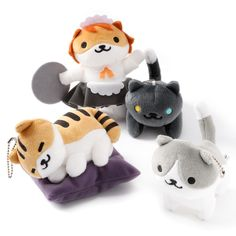 """Now you can collect the adorable kitties of Neko Atsume outside of your phone too, with the sixth volume of Neko Atsume Big Plush Straps!You can choose from Rascal, Breeze, Pepper, and Sassy Fran, or if you're worried they might get lonely without any feline friends to play with, the Set of All 4 is a great option. These approximately 4.3"""" long plush straps come with a ball chain so you c... #plushie"""